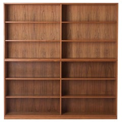 Teak Tall Double Modular Bookcase with Sliding Doors Ry Mobler