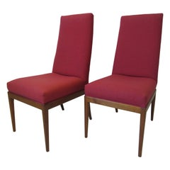 Teak Upholstered High Back Dining Chairs