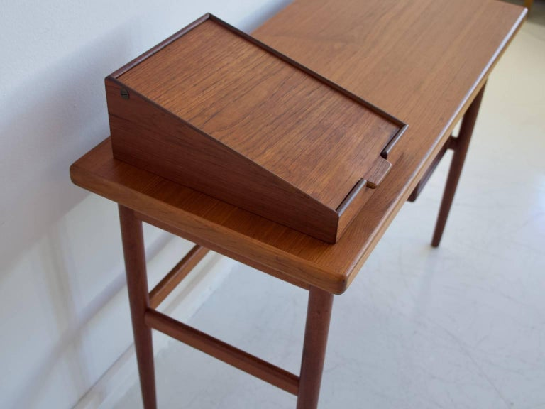 Scandinavian Modern Teak Vanity Table with Mirror and Compartments For Sale