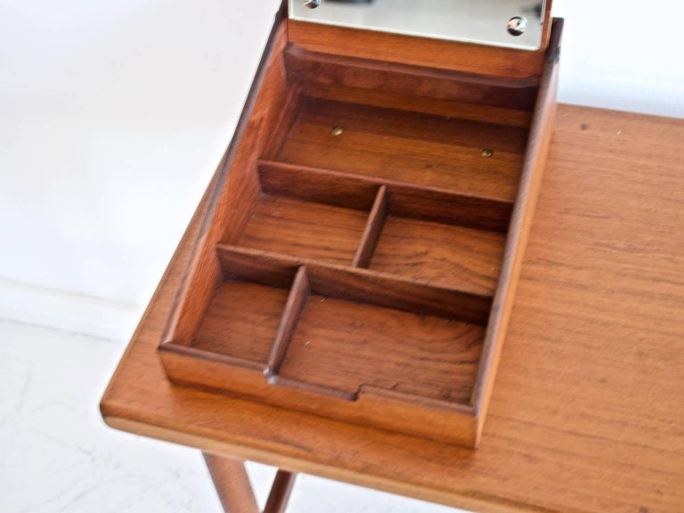 Danish Teak Vanity Table with Mirror and Compartments For Sale