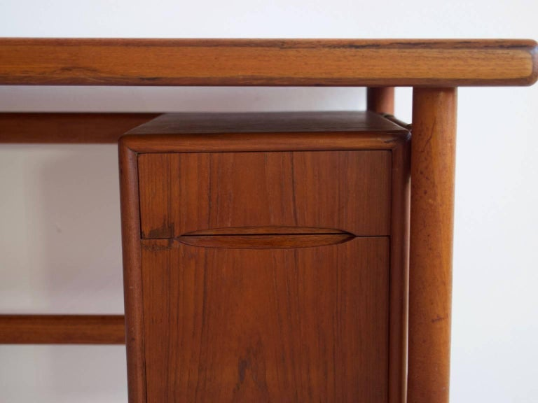 20th Century Teak Vanity Table with Mirror and Compartments For Sale