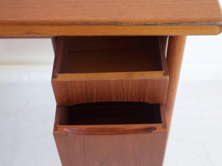 Teak Vanity Table with Mirror and Compartments For Sale 1