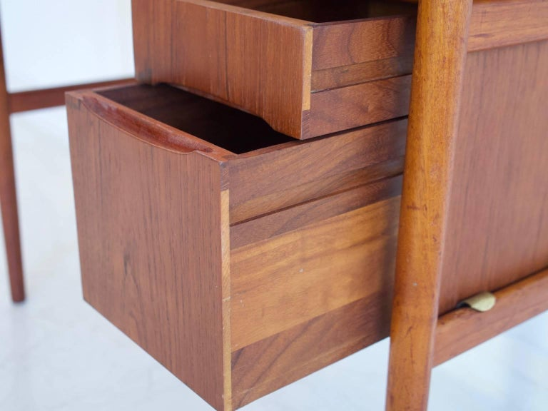 Teak Vanity Table with Mirror and Compartments For Sale 3