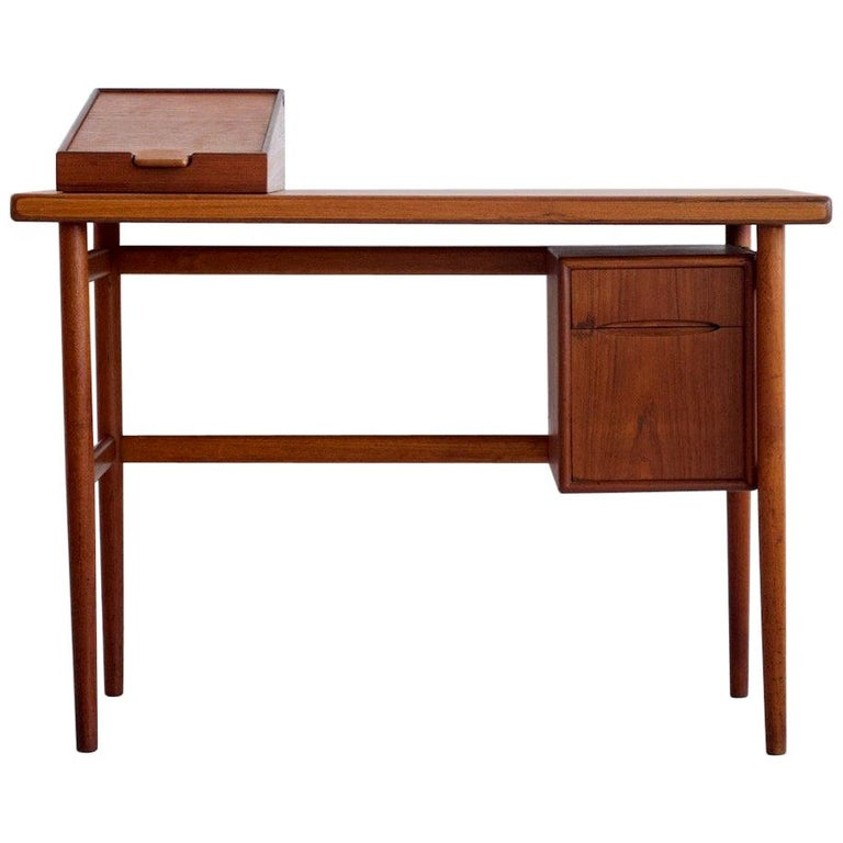 Teak Vanity Table with Mirror and Compartments For Sale