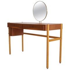 Teak Vanity Table with Round Mirror by Bertil Fridhagen