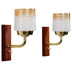 Teak Wall Lights 'Pair', 1950s Scandinavian Sconces with Glass, Brass and Teak