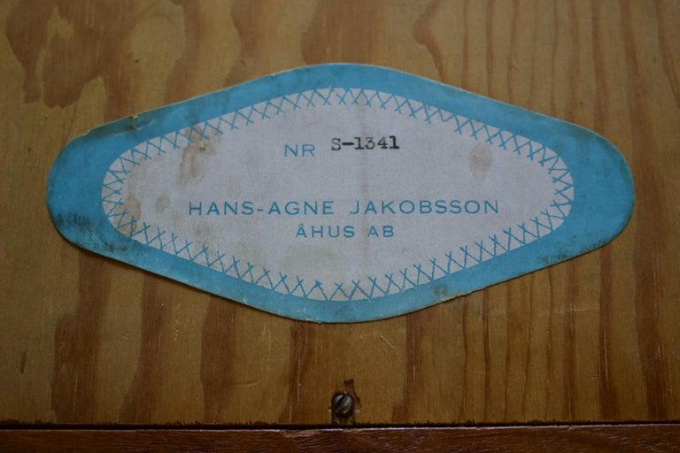 Teak Wall Mirror by Hans-Agne Jakobsson, Åhus Sweden, 1950s For Sale 5