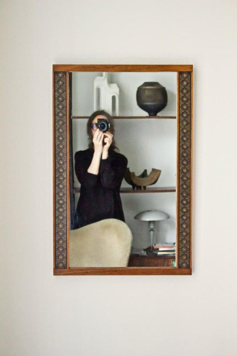 Teak Wall Mirror by Hans-Agne Jakobsson, Åhus Sweden, 1950s For Sale 7