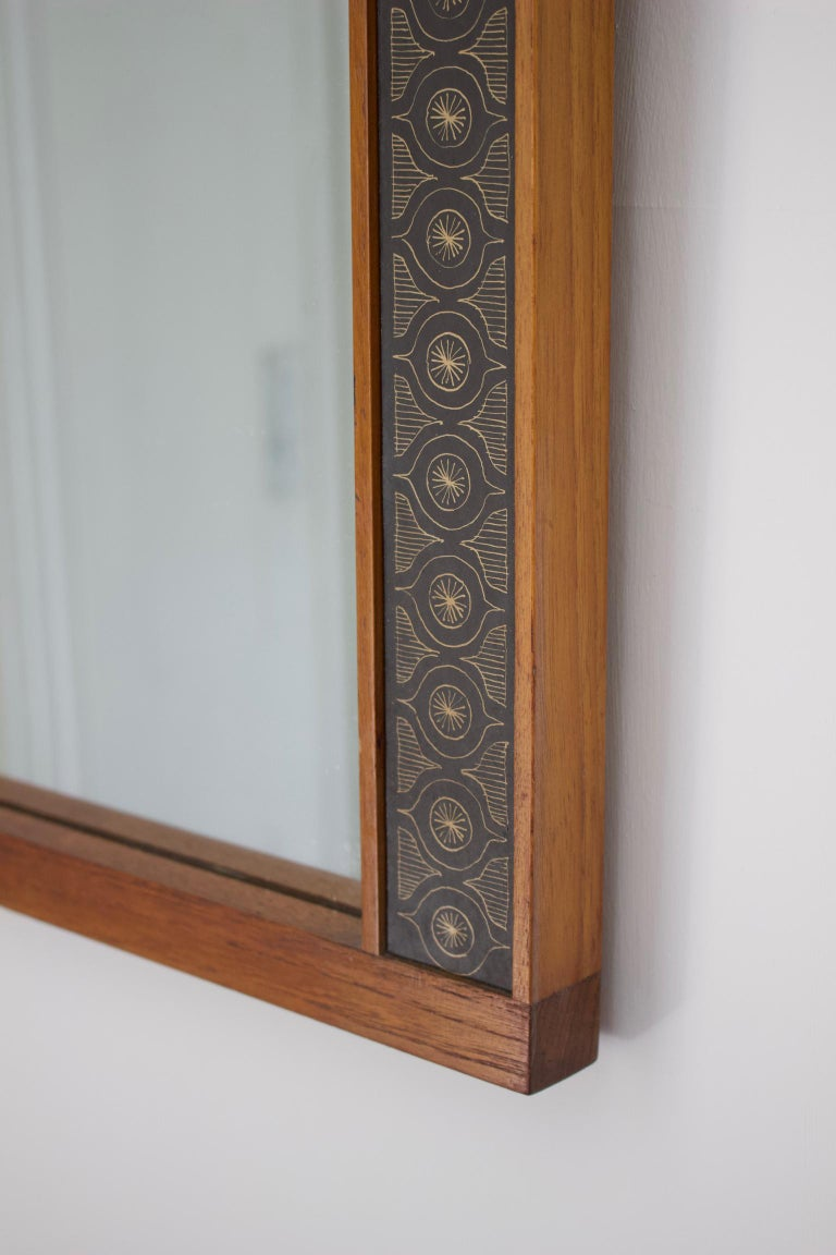 Teak Wall Mirror by Hans-Agne Jakobsson, Åhus Sweden, 1950s In Good Condition For Sale In London, GB