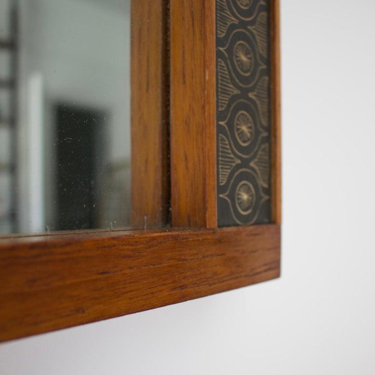 20th Century Teak Wall Mirror by Hans-Agne Jakobsson, Åhus Sweden, 1950s For Sale