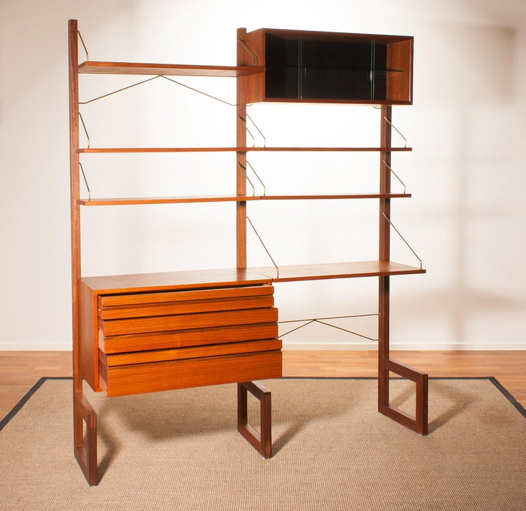 Danish Teak Wall System Unit by Poul Cadovius for Cado, Denmark, 1960s For Sale