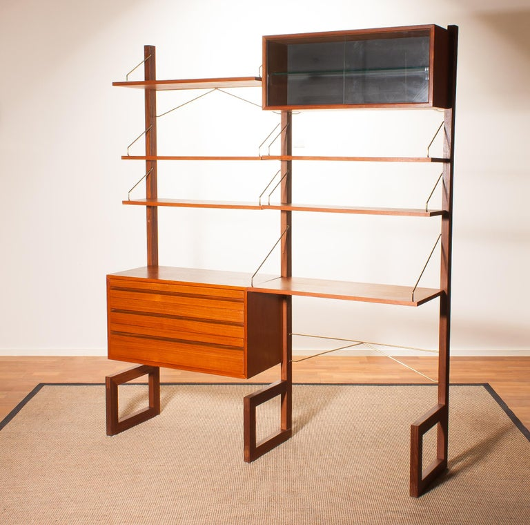 Mid-20th Century Teak Wall System Unit by Poul Cadovius for Cado, Denmark, 1960s For Sale
