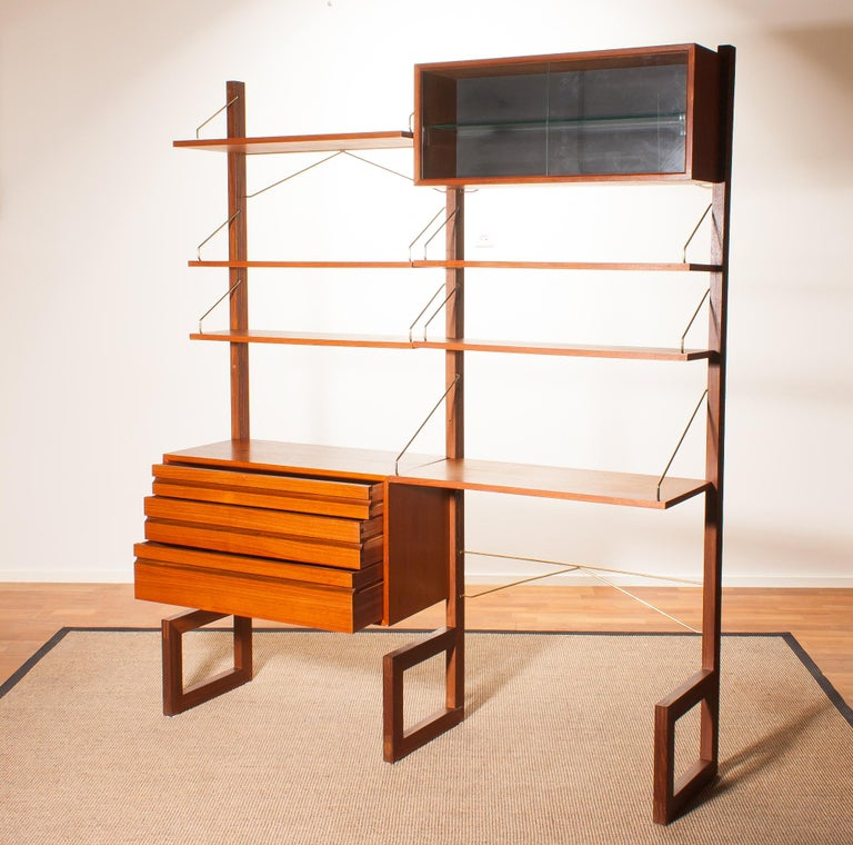 Brass Teak Wall System Unit by Poul Cadovius for Cado, Denmark, 1960s For Sale