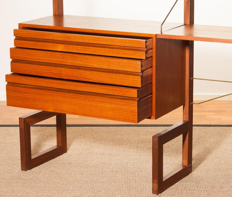 Teak Wall System Unit by Poul Cadovius for Cado, Denmark, 1960s For Sale 1