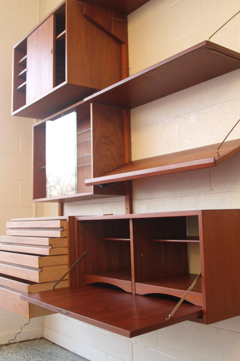 Teak Wall System Unit by Poul Cadovius for Cado For Sale 7