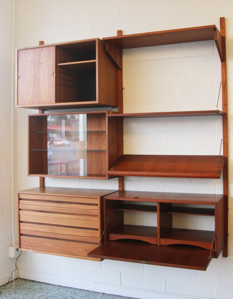 Mid-Century Modern Teak Wall System Unit by Poul Cadovius for Cado For Sale