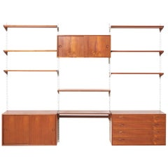 Teak Wall Unit by Kai Kristiansen for FM Møbler, 1960s