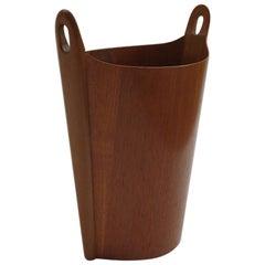 Teak Waste Paper Bin Designed by Einar Barnes for P S Heggen Norway Midcentury