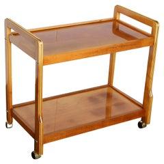 Teak with Inlaid Brass Accents 2-Tier Bar Cart Beverage Cart, Tea Cart on Wheels