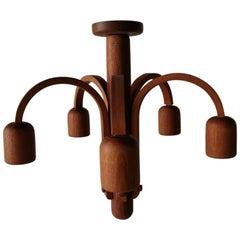 Teak Wood 5 Armed Ceiling Lamp by Domus, 1970s, Italy