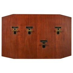 Teak Wood and Brass Coat Rack by Melchiorre Bega from the Late 1950's