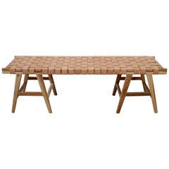 Teak Wood and Leather Strap Bench