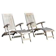 Teak Wood & Brass Folding Steamer Deck Lounge Pool Chair Chaise Lounge - a Pair