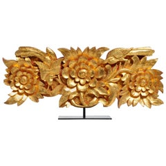 Teak Wood Carving with Gold Paint on Metal Stand