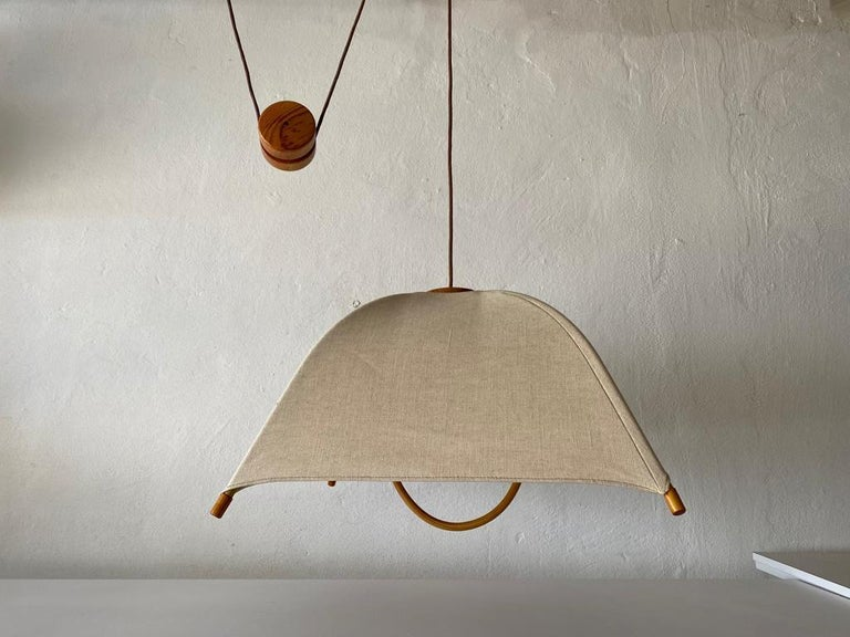 Teak Wood & Fabric Shade Counterweight Pendant Lamp by Domus, 1980s Italy For Sale 4