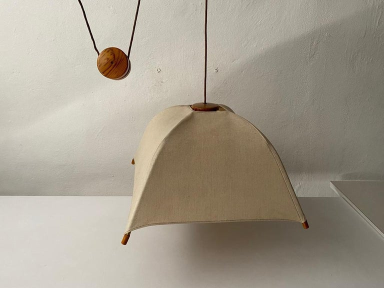 Teak Wood & Fabric Shade Counterweight Pendant Lamp by Domus, 1980s Italy For Sale 6