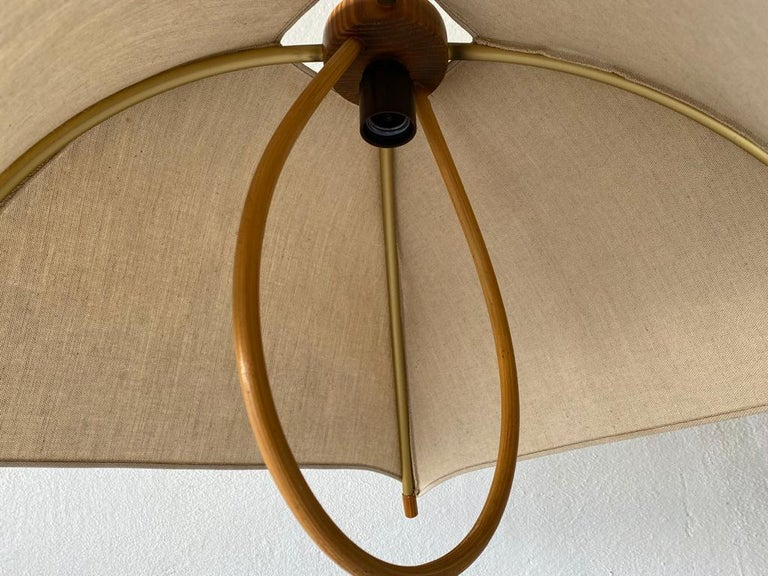 Teak Wood & Fabric Shade Counterweight Pendant Lamp by Domus, 1980s Italy For Sale 7