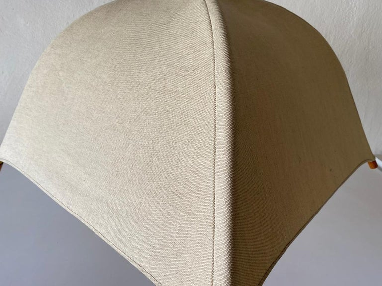 Teak Wood & Fabric Shade Counterweight Pendant Lamp by Domus, 1980s Italy For Sale 9