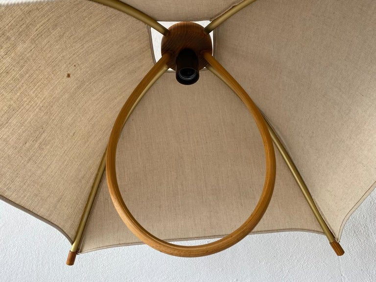 Teak Wood & Fabric Shade Counterweight Pendant Lamp by Domus, 1980s Italy For Sale 10