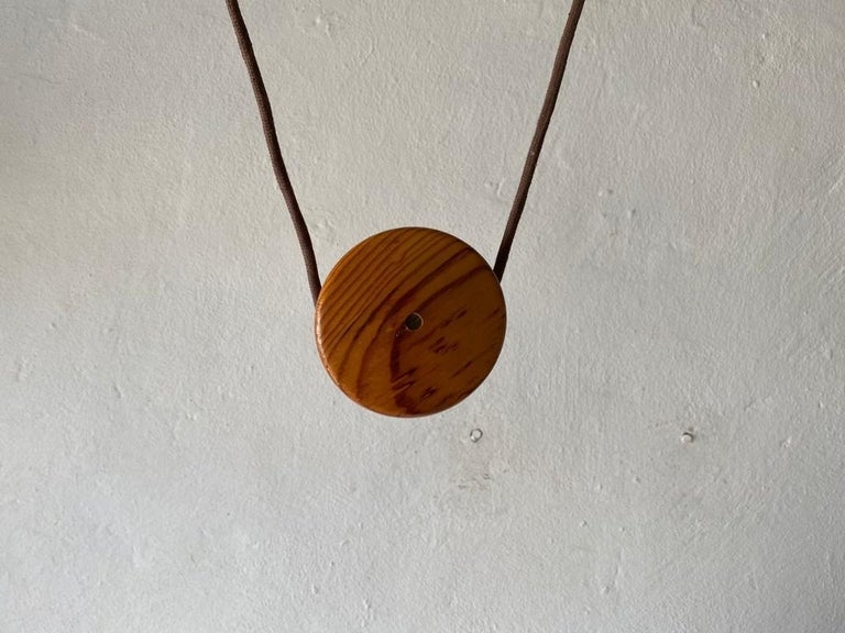 Teak Wood & Fabric Shade Counterweight Pendant Lamp by Domus, 1980s Italy For Sale 11