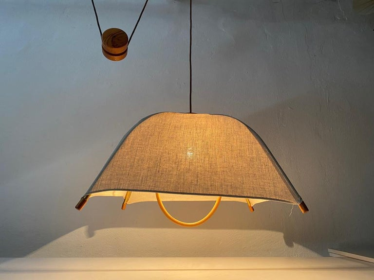 Mid-Century Modern Teak Wood & Fabric Shade Counterweight Pendant Lamp by Domus, 1980s Italy For Sale