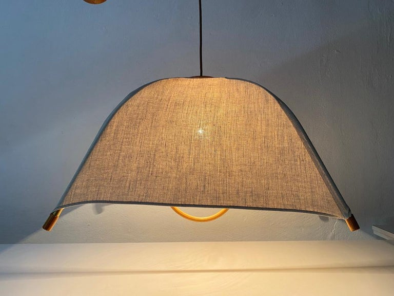 Italian Teak Wood & Fabric Shade Counterweight Pendant Lamp by Domus, 1980s Italy For Sale