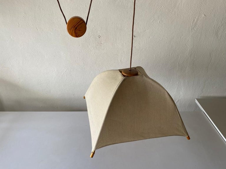Late 20th Century Teak Wood & Fabric Shade Counterweight Pendant Lamp by Domus, 1980s Italy For Sale
