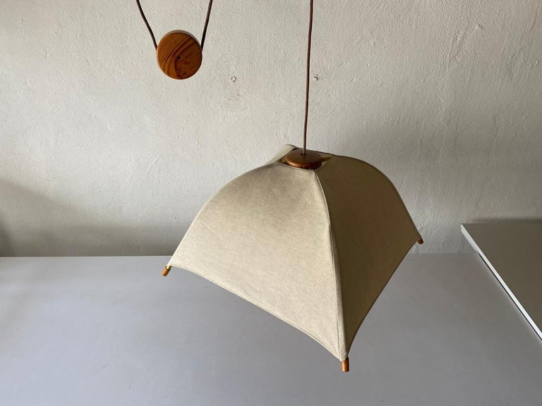 Teak Wood & Fabric Shade Counterweight Pendant Lamp by Domus, 1980s Italy For Sale 2