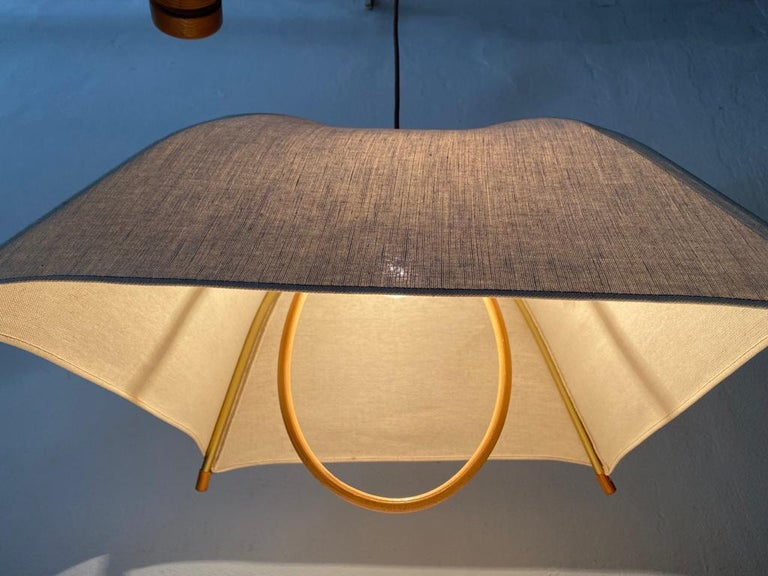 Teak Wood & Fabric Shade Counterweight Pendant Lamp by Domus, 1980s Italy For Sale 3