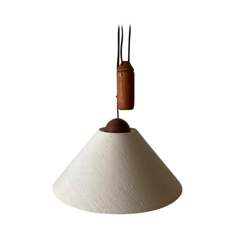 Teak Wood & Fabric Shade Counterweight Pendant Lamp by Domus, 1980s, Italy