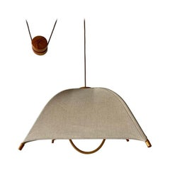 Teak Wood & Fabric Shade Counterweight Pendant Lamp by Domus, 1980s Italy