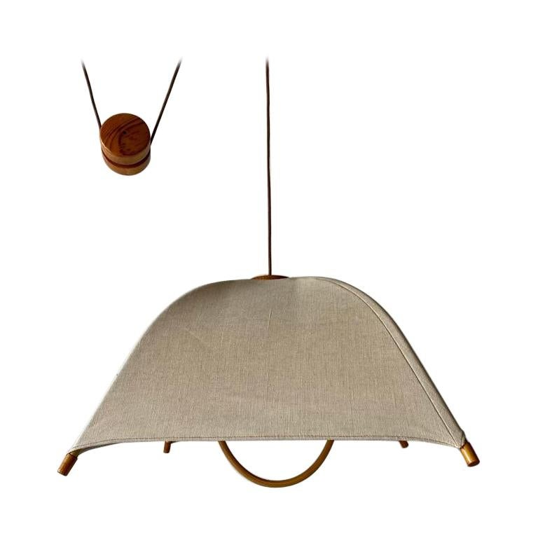 Teak Wood & Fabric Shade Counterweight Pendant Lamp by Domus, 1980s Italy For Sale