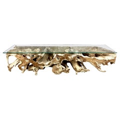 Teak Wood Root Console / Lowboard with Safety Glass Top, Organic Modern, 2021