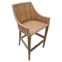 Teak Wooden and Braided Resin Rattan Effect Outdoor Bar Stool
