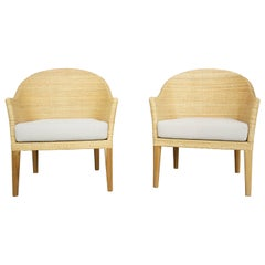 Teak Wooden And Rattan Armchairs French Design
