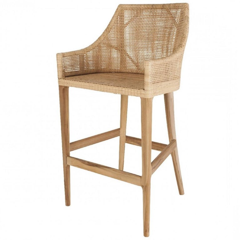 Scandinavian Modern Teak Wooden and Rattan Pair of Bar Stools French Design For Sale