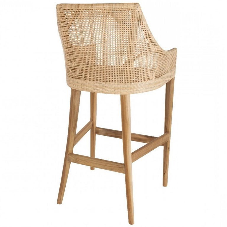 Teak Wooden and Rattan Pair of Bar Stools French Design In New Condition For Sale In Tourcoing, FR
