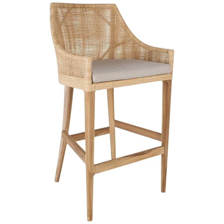 Teak Wooden and Rattan Pair of Bar Stools French Design For Sale