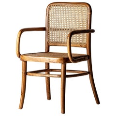 Teak Wooden and Wicker Cane Armchair