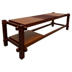 Teak Wooden Bench with Brass Iinserts, Italy, 1960s